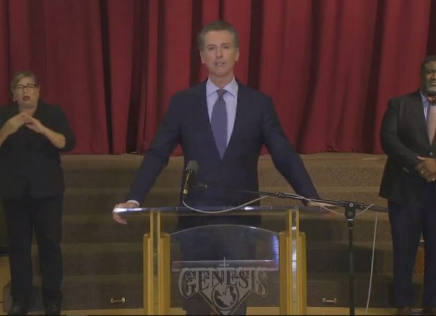 California Gov. Gavin Newsom at a press conference June 1st, 2020. (Image via ABC7)
