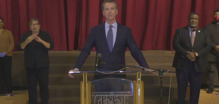 California Gov. Gavin Newsom at a press conference June 1st, 2020. (Image via ABC7)