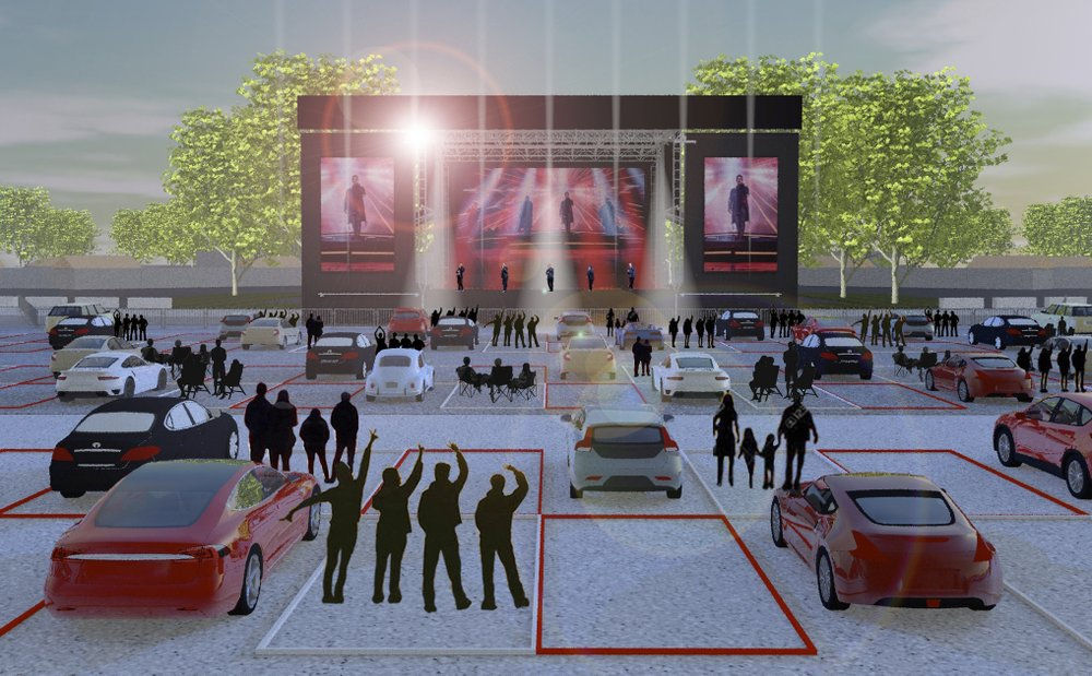 "This artist rendering shows the set up for Live Nation's ""Live from the Drive-In"" concert series taking place July 10-12."