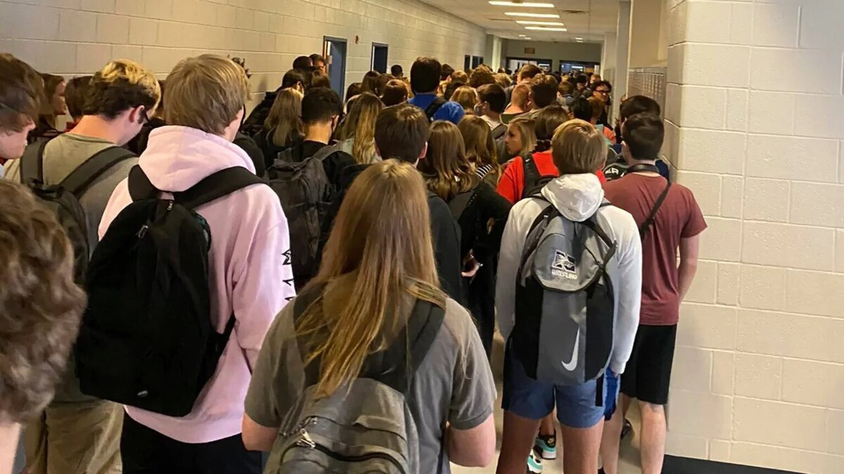 Hallway inside the high school this week. (Credit: Hannah Watters)