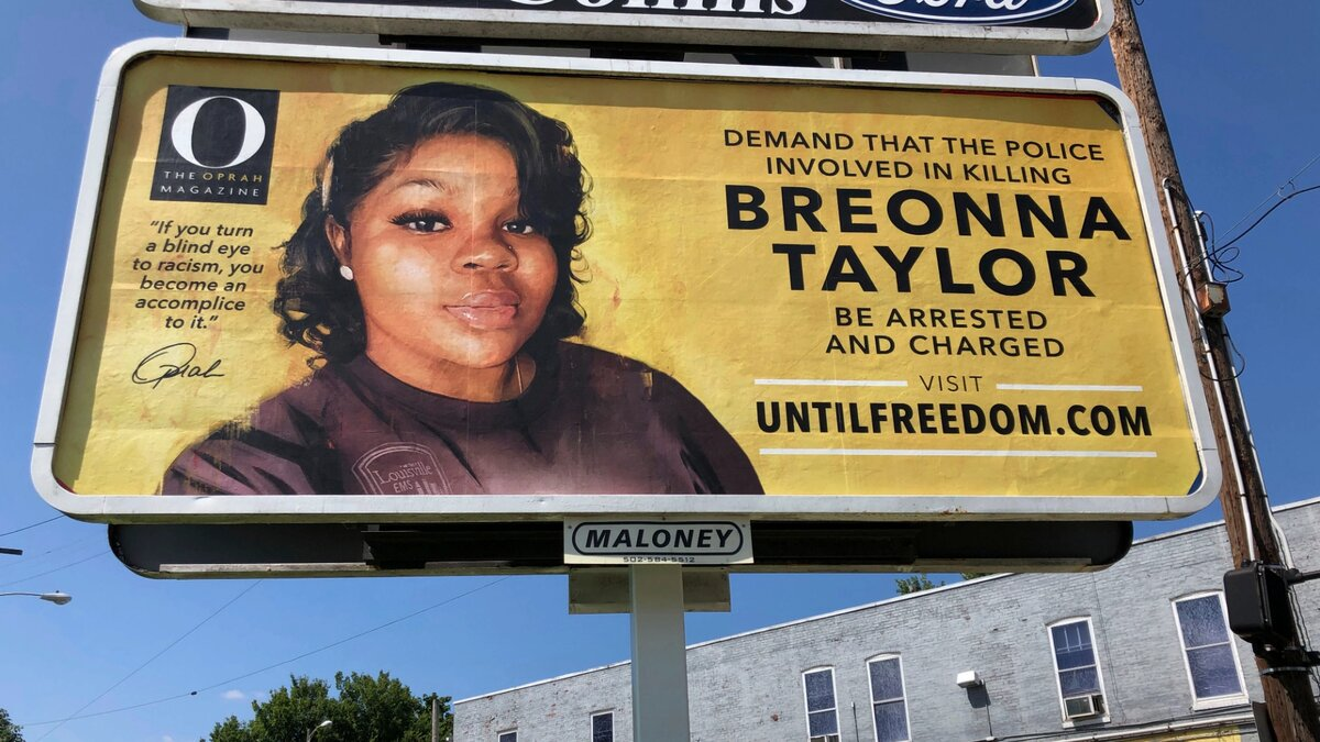 A billboard sponsored by O, The Oprah Magazine, is on display with with a photo of Breonna Taylor, Friday, Aug. 7, 2020 in Louisville, KY. (AP Photo/Dylan T. Lovan)