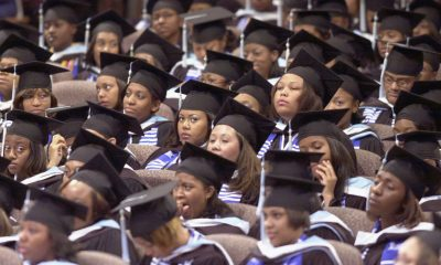 Graduates of Spelman College during commencement ceremonies on May 19, 2002. (Erik S. Lesser/Getty Images)