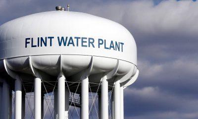 A water tower in Flint, Michigan