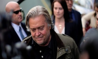 Former White House chief strategist Steve Bannon departs after testifying in the criminal trial of Roger Stone, U.S. District Court in Washington on November 8, 2019. (Reuters/James Lawler Duggan)