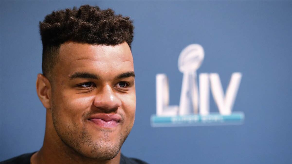 Arik Armstead speaks during a media availability for the NFL Super Bowl 54 football game, in Miami on Jan. 28, 2020. (Wilfredo Lee/AP file)