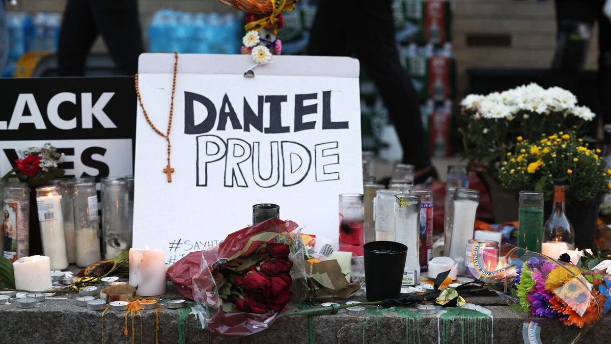 A makeshift memorial for Daniel Prude is seen prior to a march on September 06, 2020 in Rochester, New York. (Photo by Michael M. Santiago/Getty Images)