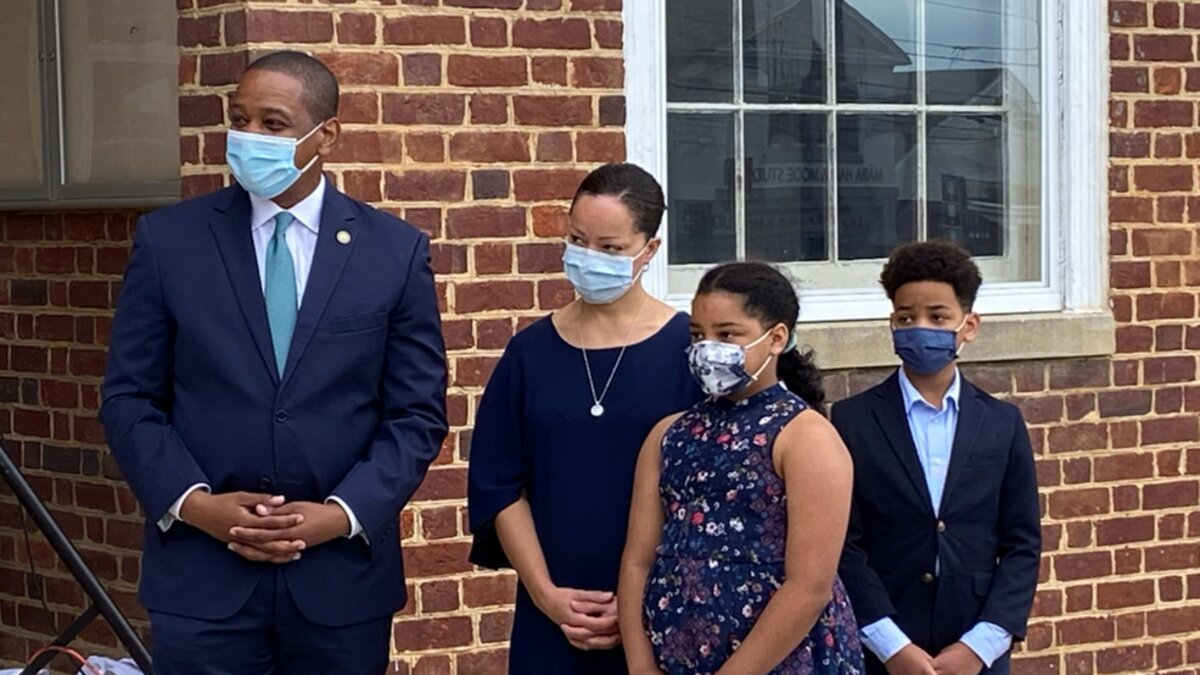 Virginia Lieutenant Governor Justin Fairfax is joined by his family as he sets to kick-off his campaign for governor Saturday morning at the Old Court House in Fairfax, Va. (ABC7/Justin Hinton)