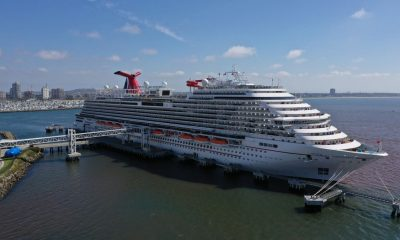 The empty Carnival Panorama cruise ship sat docked in Long Beach, Calif., in April. (Lucy Nicholson/Reuters)