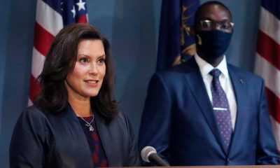 Gretchen Whitmer addresses the state during a speech in Lansing, Mich. Gov. Whitmer's office said Thursday, Sept. 17, 2020. (Michigan Office of the Governor via AP, File)