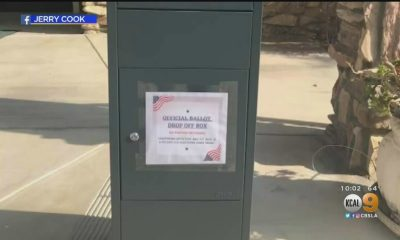 Picture of unofficial ballot box outside of Freedom's Way Baptist Church. (Image via KCAL9)
