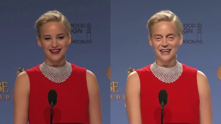 Deepfake example of a viral clip of Jennifer Lawrence with Steve Buscemi's face. (Courtesy of MobyGeek)