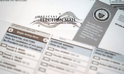 An official mail-in ballot for the 2020 General Election in the United States is shown, Tuesday, Oct. 13, 2020, in Marple Township, Pa. (AP Photo/Matt Slocum)