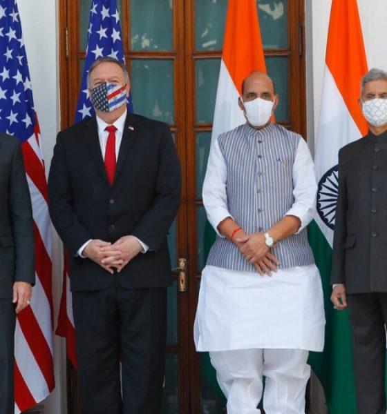 US Secretary of State Mike Pompeo and Secretary of Defence Mark Esper with Indian Foreign Minister Subrahmanyam Jaishankar and Defence Minister Rajnath Singh ahead of their meeting at Hyderabad House in New Delhi. (Adnan Abidi/ AP)